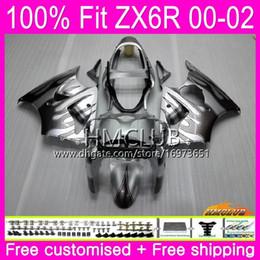 $enCountryForm.capitalKeyWord Australia - OEM For KAWASAKI NINJA ZX636 ZX 600 CC ZX-6R 2000 2001 2002 58HM.143 ZX-636 ZX 636 ZX 6R 600CC ZX6R 00 01 02 Injection Fairing Black Silver