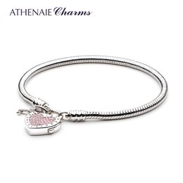 925 locking charms UK - Athenaie 925 Sterling Silver Love Snake Chain Charms Bracelet & Bangle With Cz Lock Of Heart Clasp Fit Women Wedding J 190429