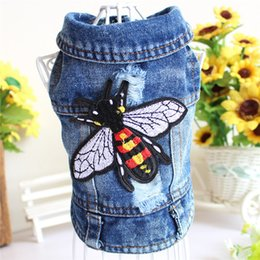 Discount animal hoodie vest - Retro Hole Embroidery Bee Princess Small Dog Pet Cat Denim Jeans Coat Jacket Cool Dog Puppy Vest Hoodie Chihuahua Pitbul