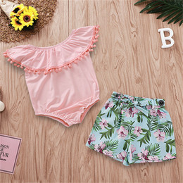 $enCountryForm.capitalKeyWord NZ - Baby Clothes 2PCS Set Kids Suit INS Girls 2019 Summer Falbala Sleeveless Rompers Jumpsuit Flowers Printed Short Pants Kids Clothing Q343