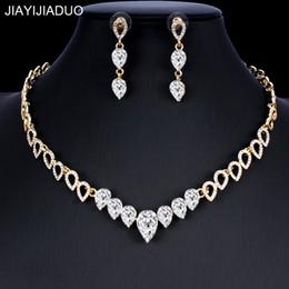 $enCountryForm.capitalKeyWord Australia - jiayijiaduo Crystal wedding jewelry set charm women's dress accessories small necklace earrings classic gift Gold color 2018 new