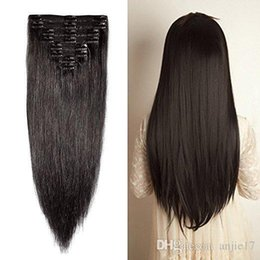 real hair heads Australia - Double Weft Clip In Hair Extensions 100% Real Virgin Thick Full Head 7 Pieces Straight silky 7pcs 16clips 70g Black Color Angelawigs