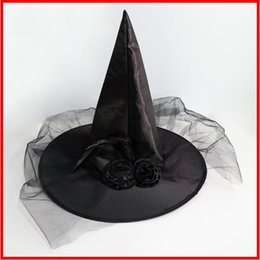 $enCountryForm.capitalKeyWord Australia - 2019 1PC Halloween Witch Hat Feather rose mesh caps Party Decoration Adult Womens Black Witch Hat For Halloween Costume Accessory Caps