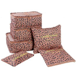 China 6pcs set Leopard travel waterproof clothes storage bag underwear bra packing portable makeup cosmetic organizer box cheap leopard makeup box suppliers