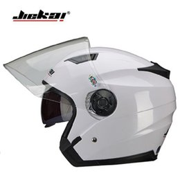 knights helmet NZ - 2019 New Knight safety protection JIEKAI Double lens Motorcycle Helmet ABS Half Face Motorbike Helmets have 9 kinds of colors