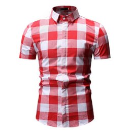 $enCountryForm.capitalKeyWord Australia - Mens Short Sleeve Checkered Button Down Blouse White Plaid Red Shirt Mens Fashions Chemise Homme Dress Shirts Men Clothes YS55