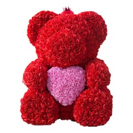 Valentines Gifts Bear UK - 25Cm Teddy Bear With Crown In Gift Box Bear Of Roses Artificial Flower New Year Gifts For Women Valentines Gift