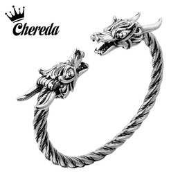 bangle silver dragon Australia - Chereda Dragon Antique Silver Bangle Mens Slavic Norse Viking Punk Bangles Personality Adjustable Bangle for Boys