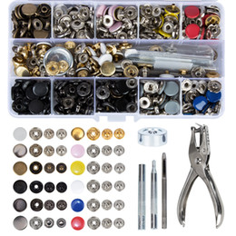 snap tools NZ - 150 pcs Metal Snap On Buttons Set Press Studs with 4 Pcs Fixing Tools and 1 Pcs Punch Pliers for Leather, Wallet and Clothes