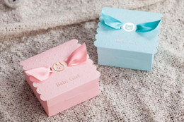 Sweet Party Box Australia - Baby shower favor box Birthday party sweet box -- pink girl or blue boy with bow chocolate bag 50pcs lot sweet Favors 20170120#