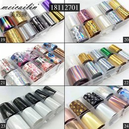 uv decals Canada - tickers & Decals 10 Design set 2.5*100cm DIY Holographic Transfer Foil Nail Art Stickers Starry Paper AB Metal Color UV Gel Wraps Adhesiv...