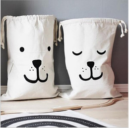 Clothes Card Australia - Canvas receptacle sack Children's room bearface alphabet washing machine toy household canvas bag Toy Bags Clothing Wardrobe Storage