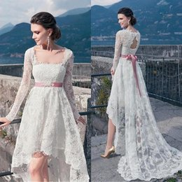 square lace up back wedding dresses NZ - Vintage High Low Wedding Dresses With Long Sleeves Sexy Backless Sash Front Short Back Wedding Dress Cheap Full Lace Beach Bridal Gowns