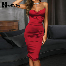 Red sexy midi paRty dRess online shopping - Drape Neck Bodycon Cami Dress Women Sexy Sleevelss Spaghetti Strap Summer Dress Solid Midi Party Dresses