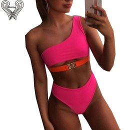 hot one piece swimwear NZ - Neon Hot Pink One Shoulder Bikini Push Up Swimsuits For Women High Waist Bathing Suits Two-pieces Swimwear Female Swim Suit 2019 Y19072401