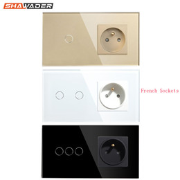 panel connector sockets NZ - French Wall Socket Light Switch 1 2 3 Gang with 1 Way Electrical Wall Outlets Crystal Glass Touch Panel 16A France Rectangular T200605