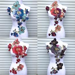 Dress craft fabrics online shopping - 1PC Big Flower Lace Embroidered Neckline Collar Trim Clothes Fabric Sewing Supplies Craft Wedding Dress Applique
