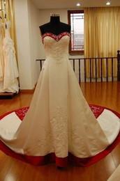Impresionante bordado blanco y rojo Vestidos de novia Barato Foto real Cariño Satén Granos Lentejuelas Vestido de novia Vestidos de novia Nuevo en venta