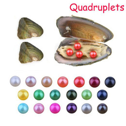Gif Colors Australia - 2019 DIY 6-7mm Freshwater akoya oyster with Quadruplets pearls Mixed 27 colors Top quality Circle natural pearl in Vacuum Package For Gif