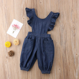 Denim infant clothing online shopping - Baby girls ruffle sleeve Bib pants infant Denim Jumpsuits summer fashion strap pant Boutique Suspender pant kids clothes C5951