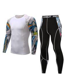 Ca gold online shopping - MMA men s fitness suit thermal underwear gym sportswear Rashguard new fashion men s long sleeves ca good set