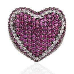 $enCountryForm.capitalKeyWord UK - Rose Blue Heart Shaped CZ Ring Zicron Copper Hip Hop Jewelry Luxury Ring Engagement Rings moda lusso Anelli Wedding Bands