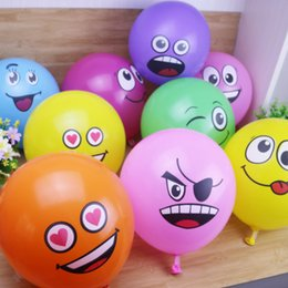 smiling faces decorations UK - 12pcs Cute Printed Big Eyes Smiling Face Latex Balloons Happy Birthday Party Decoration Inflatable Air Balloons for Kids Gifts