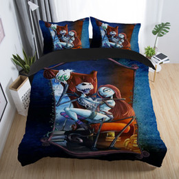 Discount 3d christmas bedding sets - 3d sugar skull Couple bedding set skull duvet Cover queen size with Pillowcase nightmare before christmas bedding bed li