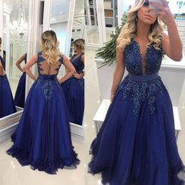 $enCountryForm.capitalKeyWord Australia - Robe de soirée Royal Blue Sheer Neck Prom Dresses Beaded Pearls Backless A Line Evening Gowns Special Occasion Party Dress