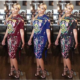 dress slimmer NZ - Free Ship Women Fashion Punk Style Print Hallow-Out Two Piece Dress Lady Casual Slim Outfits 3XL Plus Size