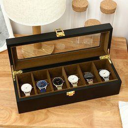 Wood Case For Glasses Australia - 6 Slots Watch Box Organizer Display Case Wood Luxury Glass Top Wristwatch Box Jewelry Storage For Clock Watches Jewellry Boxes