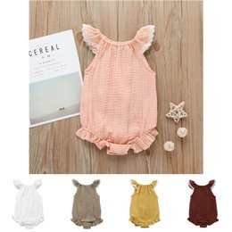 $enCountryForm.capitalKeyWord Australia - Baby romper 5 colors Baby girls flutter lace sleeve romper infant ruffle sleeves jumpsuit fashion boutique kids climbing clothes DHL FJ103