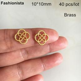 $enCountryForm.capitalKeyWord Australia - 40 pcs Brass Filigree Connectors 10*10mm,Brass Flower Pattern Jewelry Connectors,Gold-color,Silver-color,Raw Brass,DIY Supplies