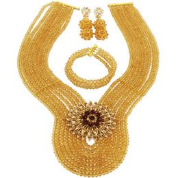 $enCountryForm.capitalKeyWord UK - Champagne Gold Nigerian Wedding African Beads Jewelry Set Crystal Beads Necklace Bracelet Earrings Sets 8WD09