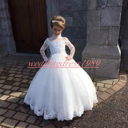 Red White Blue Tutus Australia - New Arrival White High Neck Tulle Flower Girls' Dresses Lace A-Line Girls Birthday Formal Gowns First Communion Dresses Kids Tutu Pageant