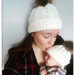 Hair Hat Warm Australia - Foreign Trade Autumn And Winter The Ball Ball Hemp Flowers Knitting Hat Keep Warm Woman Parenting Imitate Raccoon Hair Bulb Wool Hat