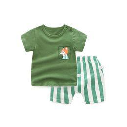 580a98a80bad 2Pcs set Cartoon Fox Printed Short-sleeved T-shirt+Shorts Kids Outfits 100%  Cotton Baby Boy Summer Clothes