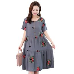 $enCountryForm.capitalKeyWord UK - Summer Embroidery Floral Vintage Women's Dress 2019 New Oan Set Robe Women's Clothes Loose Plus Size Dresses De Fiesta Y19070901
