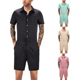 Pink Body Suits Australia - Litthing Casual Summer Men Fitness Rompers Overall Pants Male Bodysuits Single Breasted Short Jumpsuit Trousers Body Suits Homme