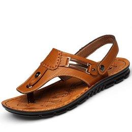 Slide Sandals Australia - Sandals Men Summer Genuine Leather Men Beach Shoes Soft bottom loafers Male Slippers Big Size Slides Flip Flops Casual shoes