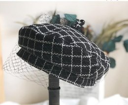 Wholesale vintage novelty printing online – design Tweed plaid beret is a new fashion trend for women in the classic British vintage painters hats