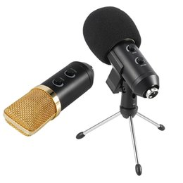 Wholesale BM Profeesional Condenser Microphone Portable USB Broadcasting Echo Microphone With Tripod Stand Holder for Studio Recording Computer Wechat