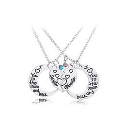 Pendant Backs Australia - I Love you to the Moon and Back Mother and Daughter Heart Love Pendant Necklace for Women Fashion jewelry Gift DROP SHIP 162434