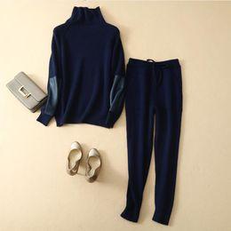 $enCountryForm.capitalKeyWord Australia - Woolen and Cashmere Knitted warm Suit round Collar Velvet woolen Sweater + Mink Cashmere Trousers Leisure Two-piece sets wq901