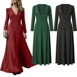 Wholesale dresses long maxi womens chiffon resale online – Autumn And Winter Maxi Dresses With Adjustable Waist Sashes Deep V Neck Bohemian Dress Long Skirts For Womens Ladies Apparel Clothing38ys E1