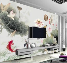 $enCountryForm.capitalKeyWord Australia - custom size 3d photo wallpaper living room bed room mural Chinese mural lotus leaf picture sofa TV backdrop wallpaper non-woven wall sticker
