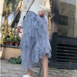 $enCountryForm.capitalKeyWord Australia - Vintage Fragment Stitching Tulle Skirts Womens Black White Adult Long Skirt Elastic High Waist Pleated Beach Midi Skirt MX190730