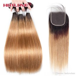 burgundy black hair dye NZ - Brazilian Straight Hair Human Hair Weave Bundles with Closure 4PCs Lot Ombre Two Tone Pre-Coloed Honey Blonde Burgundy Red Brown Hotlove