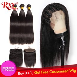 Remy fRont lace closuRe online shopping - 300 Density Free Customized Straight x4 Lace Frontal Wigs By Remy Brazilian Straight Human Hair Bundles With Frontal Closure