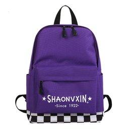 Art Canvas Prints Australia - 2019 New Plaid Letter Print Casual Canvas Backpack High Quality Unisex Harajuku Girls Fashion Travel School Shoulder Bag Bagpack(Purple)